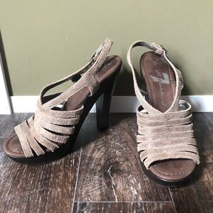 7 For All Mankind Tan Sparkle Heels / Sandals